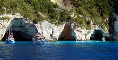 Caves in Paxos Island. Greece