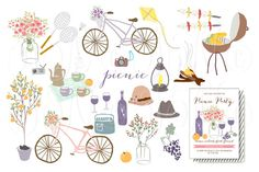 Check out Flower Rustic Wedding Clipart Picnic by Ivan Negin on Creative Market