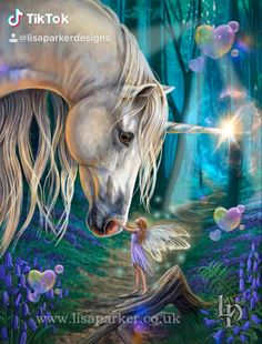 cool magical artworks by best selling fantasy artist Lisa Parker. look out Lisa Parker artwork worldwide to find over 900 collectible gifts. Unicorn And Fairies, Unicorn Fantasy, Unicorn Art, Angels And Fairies, Dark Fairies, Unicorns And Mermaids, Mythical Creatures Art, Fantasy Creatures, Magical Creatures