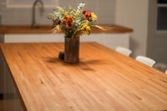 DIY Butcher Block Countertops Made From Leftover Flooring — WORK about HOUSE How to make 2 inch thick high-end butcher block counters from leftover unfinished hardwood flooring.