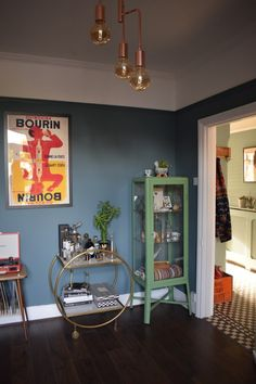 Eclectic Modern Bohemian interior decor blue cocktail lounge