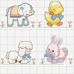 Schema punto croce Animali baby