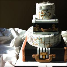 world traveler wedding cake map luggage nashville unique cake
