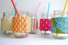 DIY: mason jar cozy 12.5 x 3.5 fabric with insulated interfacing and sew on velcro