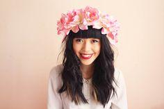 floral crown headband hair wreath - pink, romantic statement headpiece, large flower crown, oversized.. $39,00, via Etsy.
