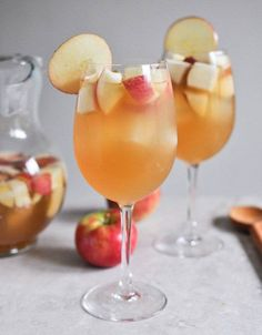 Apple Cider Sangria  1 bottle (standard size) of pinot grigio 2 1/2 cups fresh apple cider 1 cup club soda 1/2 cup ginger brandy 3 honey crisp apples, chopped 3 pears, chopped directions: Combine all ingredients together and stir, stir, stir. Refrigerate for an hour or so (or longer!) before serving.
