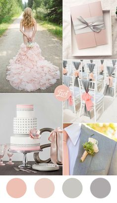 shades of pink blush and gray wedding color ideas and pocket wedding invitations
