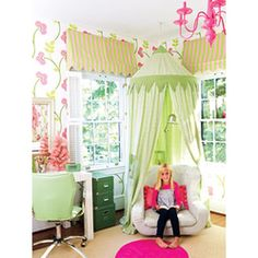 I AM definitely making  or buying a canopy for my daughters room! These are adorable!  Pink Retreat
