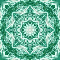 Green Fractal Mandala by Marv Vandehey
