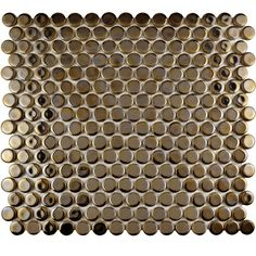 SomerTile 12x12.25-inch Penny Antique Gold Porcelain Mosaic Floor and Wall Tile (Case of 10)   Overstock.com Shopping - The Best Deals on Floor Tiles