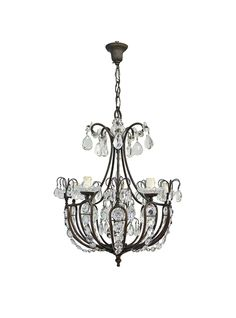 Antique Italian 5 Light Chandelier with Crystal Drops