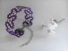 Primula    Purple Amethyst Lace Bracelet   Handmade Bobbin Lace Jewelry   Heart Motif   Primrose Motif   Spring Wedding   Bridal Jewelry