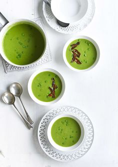 The best pea soup for four. A bag of frozen peas can be turned into a vibrant green bowl of goodness with this delicious and easy soup. Chorizo is the secret ingredient and lends an interesting saltiness to the veg. You don't need to use much so it keeps the calories down too. Serve with crusty bread on the side.