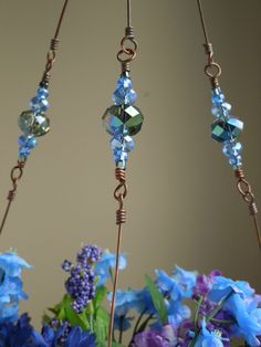 Copper Wire Plant hanger With Glass Beads.