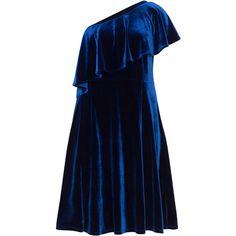 Manon Baptiste Dark-Blue Plus Size One shoulder velvet dress (€120) ❤ liked on Polyvore featuring dresses, plus size, ruffle-sleeve dresses, blue skater skirt, flutter sleeve dress, one-sleeve dresses and blue dresses