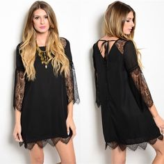"""• Black Lace Cutout Dress w/ Tie Back • Purchased directly from vendor, new without tags but securely packaged in a bag. Beautiful lined black crochet half sleeve dress with an open tie back featuring lace details on sleeves, shoulders and bottom lining. Length is approx 29"""". Available in sizes S(0-4) M(6-8) L(10-12). 100% polyester contrast with 100% nylon lining. Please comment with your size preference and I will create a new listing for you. I DO NOT TRADE. Price is firm unless bundled…"""