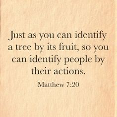 """Just as you can identify a tree by its fruit, so you can identify people by their actions."" ~ Matthew 7:20"