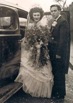 Irene Reynolds and William Wallace at their wedding in St John's Church, Newbury Park, on Christmas Day 1952.
