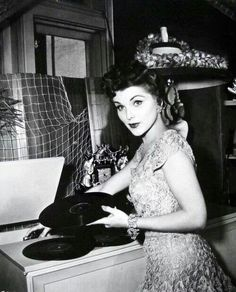 "vintagegal: "" Debra Paget playing records at home c. Lps, Classic Hollywood, Old Hollywood, Hollywood Music, Hollywood Actresses, Actors & Actresses, Vinyl Junkies, Record Players, Cinema"