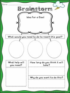 SMART Goals: Activities to Set Goals, Monitor, and Reflect Brainstorming Page. Writing SMART Goals S. Goals are perfect to help students of all ages practice goal setting and monitoring. Counseling Activities, Therapy Activities, Brainstorming Activities, Emotions Activities, Leadership Activities, Health Activities, Physical Activities, Goal Setting Activities, Goal Setting Worksheet