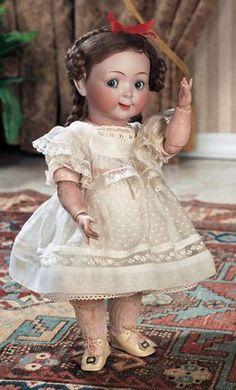 German Bisque Jubilee Googly by Hertel Schwab, ~ c. Old Dolls, Antique Dolls, Vintage Dolls, Pretty Dolls, Beautiful Dolls, Dollhouse Dolls, Dollhouse Clothing, Kewpie, Bisque Doll