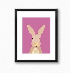 Animal art, woodland nursery decor, hare print, animal print, nursery wall decor, art for kids, children's wall decoration picture