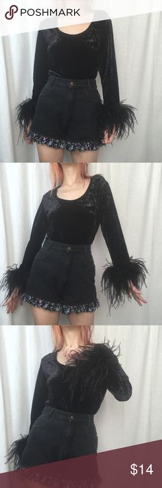 Vintage 90s Feather Velvet Top Vintage 90s witchy feather velvet top. The feathers are detached in one area on the left sleeve but doesn't really affect it being worn and is an easy fix. Overall in good condition and fits up to women's medium.    All items ship within 1-3 days.   No trades or holds.  15% discount on all bundles!  Offers welcome (unless stated otherwise).  Ask all questions before purchasing. Thank you! Vintage Tops Blouses
