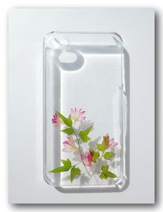 Handmade iPhone 4/4s case, Resin with Dried Flowers, Pink Cornflower