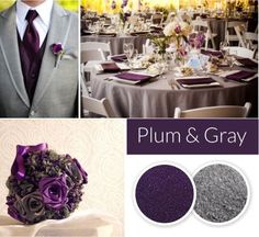 Plum and Gray wedding colors. Fall and winter wedding color trends