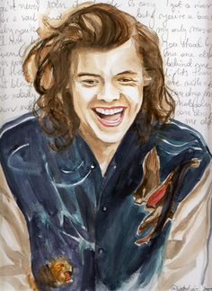 """Harry Styles Watercolour Portrait with """"Drag Me Downa"""" Lyrics One Direction"""