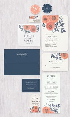 Romantic and sweet in a chic color palette of coral peach, smoky navy and pale ivory, our Peach Poppies wedding invitation collection combines watercolor floral elements with modern typestyles for a fresh and elegant look. Designed by Redwood & Vine exclusively for Zazzle.