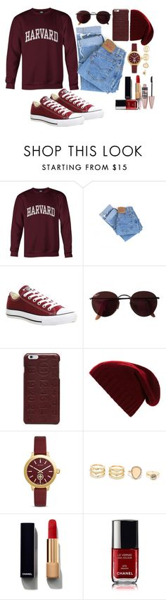"""""""Future college"""" by elsakaram ❤ liked on Polyvore featuring Levi's, Converse, Ray-Ban, Maison Margiela, BCBGMAXAZRIA, Tory Burch, LULUS, Chanel and Maybelline"""