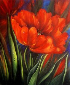 Flowers Painting - Red Tulip by Blerta Fili