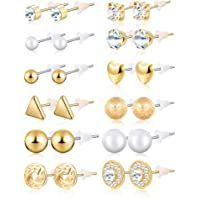BBTO 24 Pairs Stud Earrings Crystal Pearl Earring Set Ear Stud Jewelry for Girls Women Men, Silver and Gold Earring Backs, Earring Set, Crystal Earrings, Women's Earrings, Gold Fashion, Fashion Jewellery, Fashion Women, How To Make Ornaments, Ear Studs
