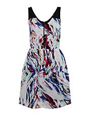 Paint Print Fit-And-Flare Dress