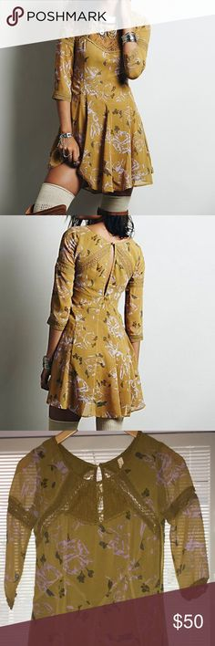 """Free People Key to My Heart fit and flare dress Free People """"key to my heart"""" fit and flare dress in mustard size 2. Excellent condition. This dress is a MUST for spring. So adorable!!!!! Free People Dresses Mini"""