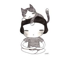 Meditating Girl and Cat 4x6 original illustration by KarKarStyle