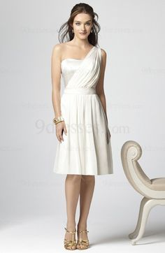 Elegant One Shoulder Zip up Chiffon A-line Ribbon Bridesmaid Dress