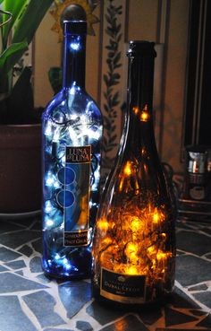 Wine Bottle lights~ perfect for any room. I have been making these for years. Great gifts.