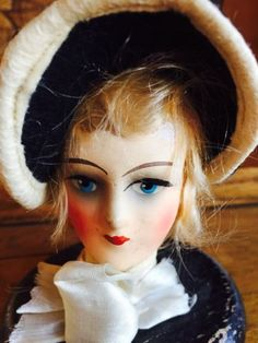 1920s-30s-Composition-Doll-Head-Painted-Wood-Hat-Stand-Whimsical-Antique-Vintage