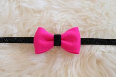 Bright Hot Pink Felt Bow and Black Glitter Headband by sparkleandspiceshop