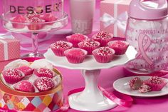October is Breast Cancer Awareness Month, which makes it a great time to encourage everyone you love to get screened and spread the word. Another way to help is to raise money towards breast cancer research by hosting a bake sale. Our Pink Velvet Tru Mr Food Recipes, Yummy Recipes, Strawberries In Containers, Microwave Baking, Baked Chips, Bake Sale, Pink Velvet, Truffles, Christmas Cookies