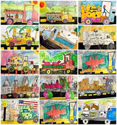 Fourth grade art truck drawings with newspaper backgrounds