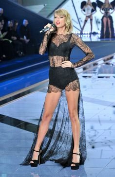 "dailyactress: ""Taylor Swift Performs at Victoria's Secret Fashion Show in London – December 2014 "" Taylor Swift ~ half naked ~ lingerie ~ long legs ~ blahblahblah"