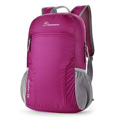 Mountaintop WaterResistant Packable Daypack Folding Backpack Medium Violet Red * Read more reviews of the product by visiting the link on the image.
