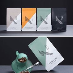 Sydney agency Biggie Smalls designed this modern re-branded packaging for Numero Uno coffee.⠀  .⠀  .⠀  .⠀  #packaging #design #packagingdesign #rebranded #coffee #numerouno #redesign #branding #identity #type #typography
