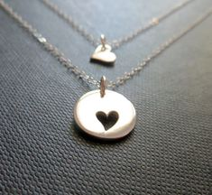 Mother daughter jewelry, silver heart necklace, mothers necklace, two mother daughter necklace