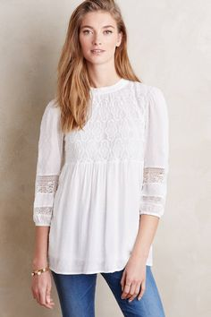 at anthropologie Meda Lace Top - ivory
