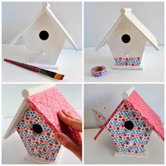 Diy casitas pájaro birdhouse washi