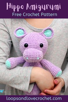 Hippo Amigurumi - Free Crochet Pattern Loops & Love Crochet Crochet Hippo, Kawaii Crochet, Crochet Animal Amigurumi, Love Crochet, Crochet Gifts, Beautiful Crochet, Crochet Animals, Amigurumi Patterns, Crochet Dolls